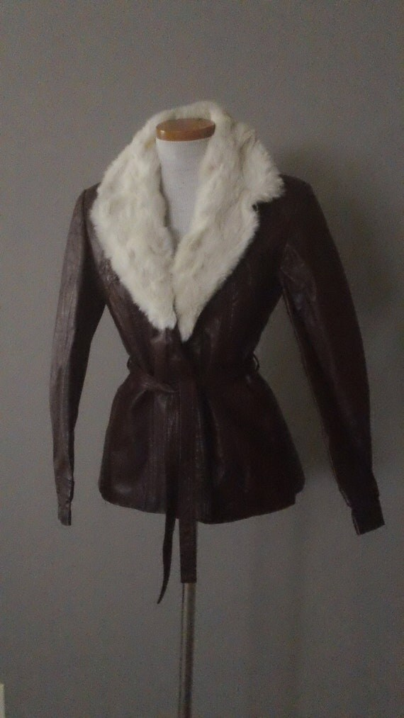 70s Short Leather Car Coat with Rabbit Fur Collar