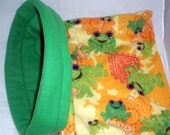 Cozy Critters Medium Cuddle Bag - Frogs Fleece  for Cats, Ferrets, or Small Dogs