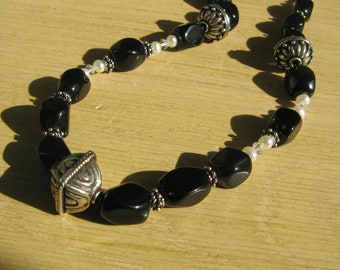 Onyx, Pearl and Silver Necklace