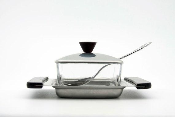 Vintage stainless steel sugar bowl / butter dish by Braun & Kemmler (W. Germany)