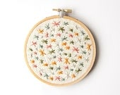 Pastel Stars Embroidery - 4 Inch Hoop Art - Hand Embroidered - Abstract Geometric Embroidery - Hand Stitched - Natural Autumn Colors