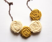 Autumn Fashion - Fabric Rosette Necklace - Fiber Necklace - Mustard Yellow and White Rolled Flowers, Statement Jewelry - Shabby Chic Chunky