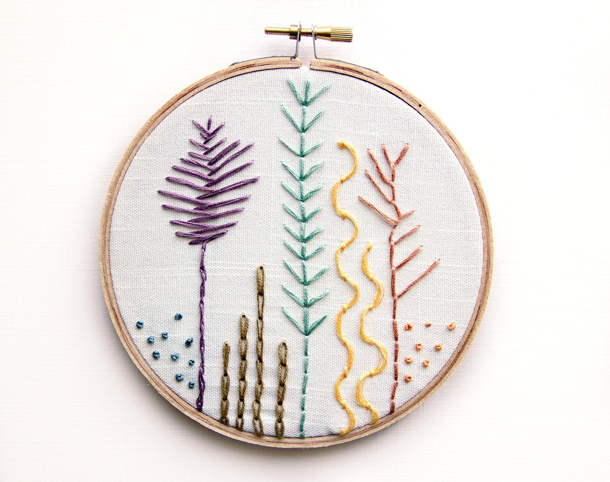 Embroidery Sea Botanicals Hoop Art 5 Inch Modern Wall Art