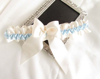 SALE Beautiful Handmade Something Blue Satin Bridal Tossing Garter with Ivory Ribbon &Glass  Pearl - Ivory with Blue