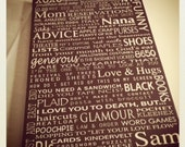 Canvas Word Art, 20x30 Canvas Typography, LIFE Story- custom word art, Gifts for mom, dad or grandparents