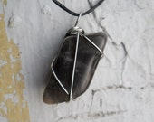 serafina. black moonstone necklace (wire-wrapped, leather, magick, witchy, pagan)