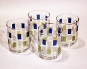 RETRO JUICE GLASSES - set of 4 glasses in mid-century geometric, green, blue and white design with gold trim (c. 1960s-70s)