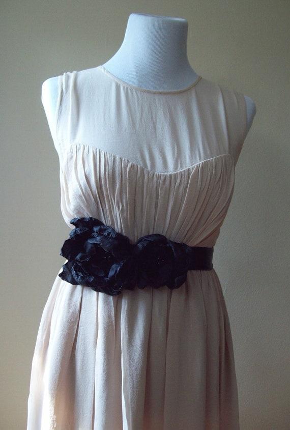 Black bridal sash peony flowers wedding double faced satin bridal bridesmaid belt