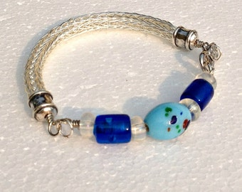 Ladies Viking knit metalwork bracelet: silver with blue glass beads
