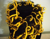 5 Foot Black and Gold Ruffle Scarf - Black with Gold Trim - Handknit - 5 Feet Long