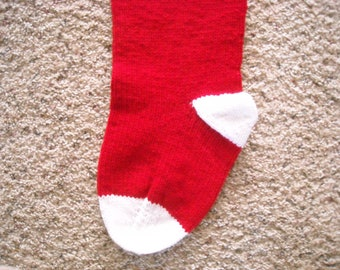 Personalized Christmas Stocking - 24 inch - Red and White - Hand Knit - Custom Order