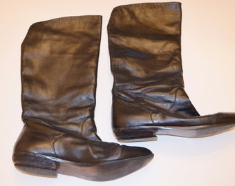 Women's Black Boots Size 7.5, Black Leather Ladies' Boots, Made in Brazil