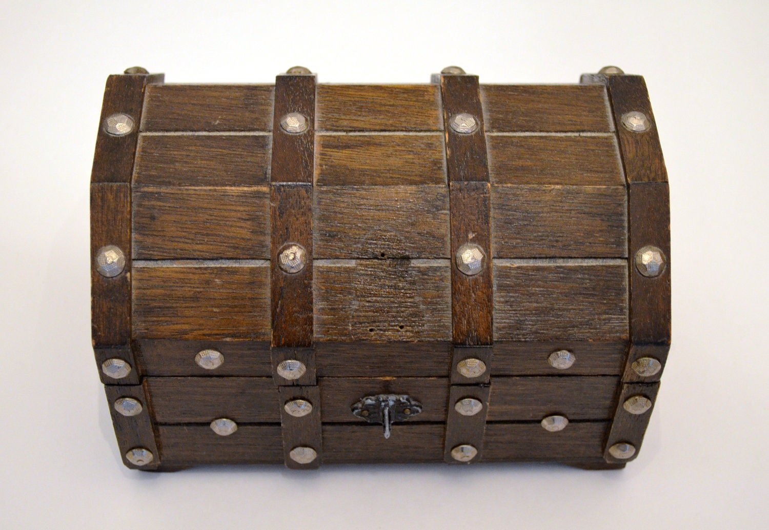 Wooden Vintage Treasure Chest Jewelry Box