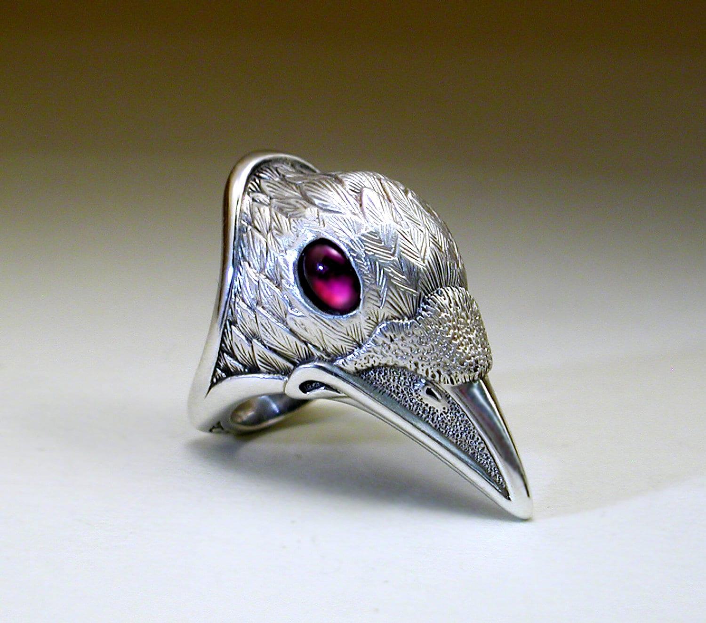 White Spirit Raven Ring