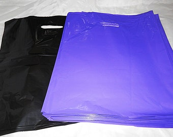 100 12x15 Glossy Purple and Black Plastic Merchandise Bags Handle Retail Gift Bags wholesale lot