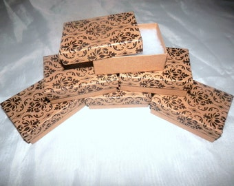 100 Damask Print 3.25x2.25 Cotton filled Jewelry Presentation Jewelry Gift Display Boxes, Favor Boxes