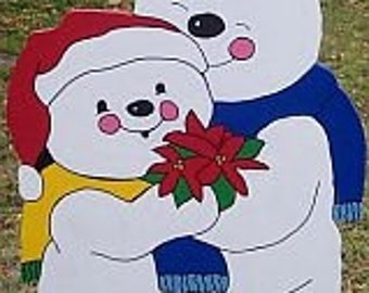 Snowcouple with Poinsettia