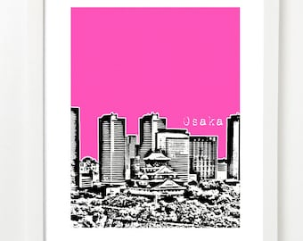 Osaka Japan Skyline Poster - Osaka City Skyline Art Print - Japan Travel Art