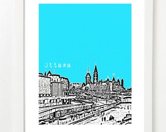 Ottawa Ontario Poster - Ottawa City Skyline Art Print - Canada