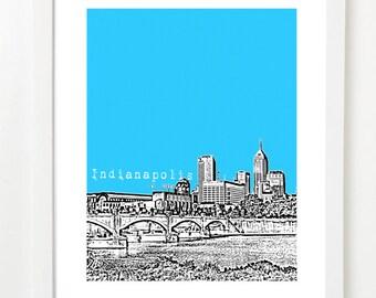 Indianapolis Skyline  - Indianapolis Indiana City Art Print - Indianapolis Poster