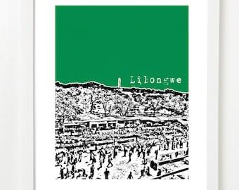 Lilongwe, Malawi Poster - Skyline Art Print - African Art -