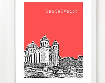 San Salvador, El Salvador Poster - City Skyline Series Art Print - Central America - VERSION 1