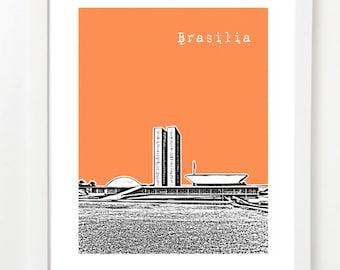 Brasilia Brazil Art Poster - City Skyline Series Art Print - Brazil Travel Art