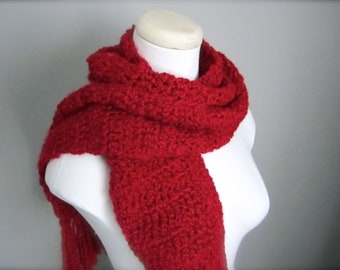 Crochet Christmas Red, Rich Scarlet Red Classic Fringe Handmade Scarf, Women's Scarf, Men's Scarf, Unisex Scarf