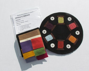 KIT - Spools 'N Threads wool applique candle mat kit