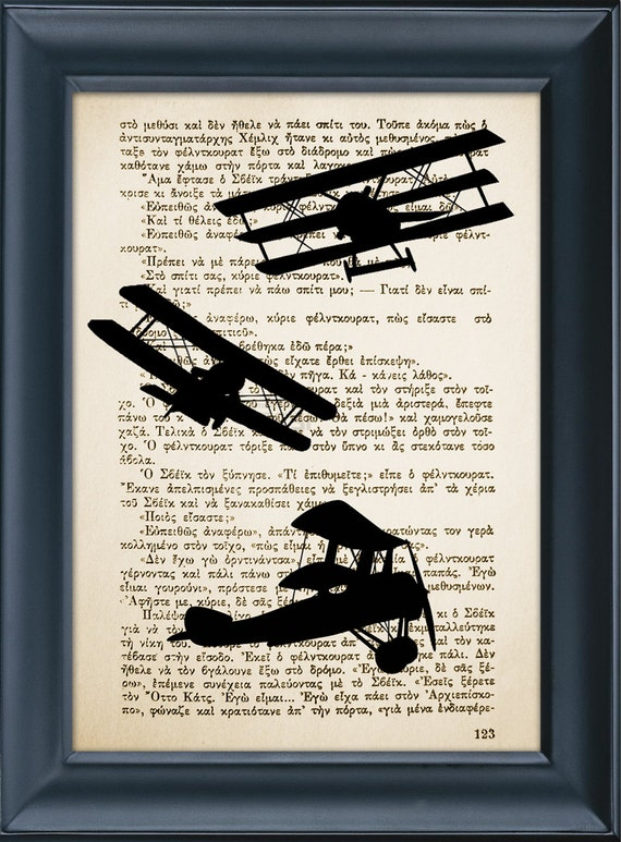 Airplanes Print - Vintage Book Page Print, Home Wall Office Decoration, Buy 3 get 1 more for FREE - 8.0x5.5in