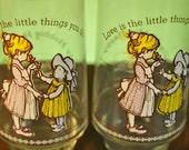 Holly Hobbie Happy Talk Drinking Glasses Set of Two Limited Edition Coca Cola Love is the Little Things You Do