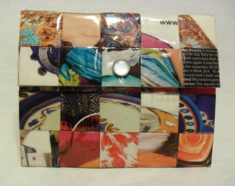 Graphic Upcycled Magazine Passport/Gift Card Holder