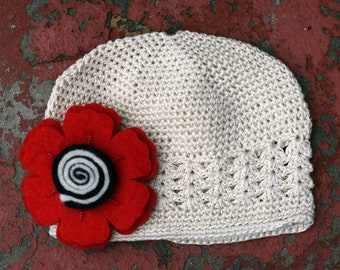 Bloomin' Swirls Hat (Red/Cream)