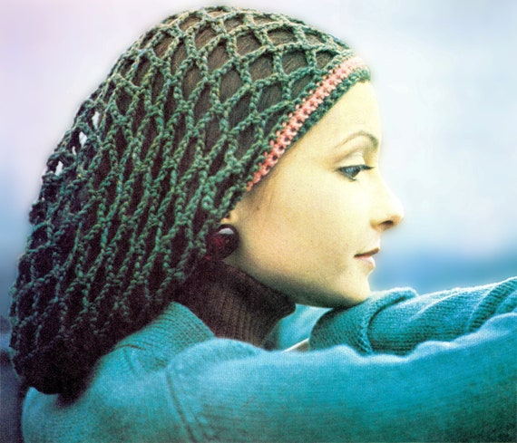 Crochet Hair Net Pattern : Crochet Slouchy Rasta Tam Hair Net SNOOD in Mixed Colored Yarn - ...