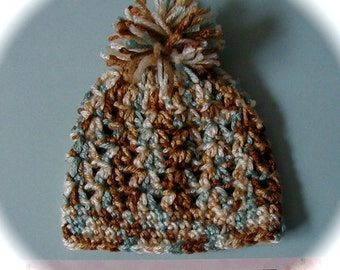SALE crochet baby beanie hat with pom pom newborn or 0-3 month or 3 6 month boy brown blue beige multicolored