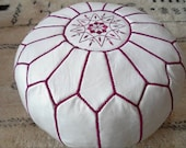 Moroccan LEATHER POUF :hand stitched / embroidered  WF