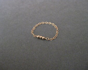 Tiny Rose Gold Beaded Chain Ring