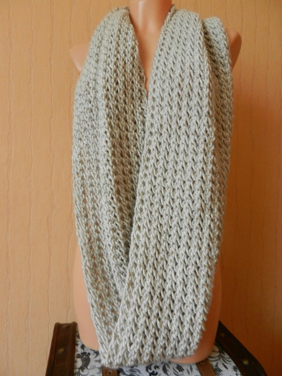 Beige Knitted Infinity Scarf, autumn accessory, winter accessory, long scarf, thick scarf, warm scarf