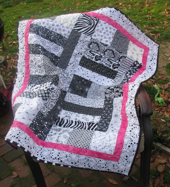 January Quilt Sale - Baby Quilt in Black and White with a touch of Pink