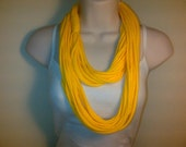 Free US Shipping:  Year Round Yellow Jersey Knit Infinity Scarf/Necklace