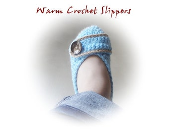Button  Crochet Slippers / Several Colors