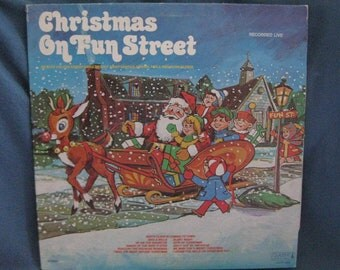 "RARE, Vintage, The Fun Street Gang - ""Christmas On Fun Street"", Holiday Vinyl LP, Record Album, Childrens, Traditional"