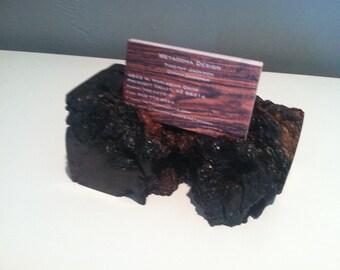 business card holder - wood card holder - oak burl card holder