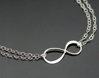 INFINITY Necklace - STERLING SILVER, Double Strand Small Infinity Necklace, Reese Witherspoon Infinity Necklace.