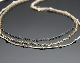 Triple Strand Necklace, Layering Necklace, Tricolor Necklace, Multi-layered Necklace, Sterling Silver-Gold Filled-Oxidized SS.
