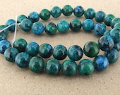 "Charm Round Azurite Chrysocolla Jasper Gemstone Beads--- 10mm ----about 40Pieces----15.5"" in length"