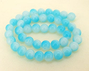 "Charm Blue Candy Jade Glass Gemstone Beads ---- 10mm ----about 40beads----about 16"" in length"