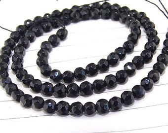 "Big Round Faceted Full Strand Black Agate Beads ----- 4mm ----- about 90Pieces ----- gemstone beads--- 15"" in length"