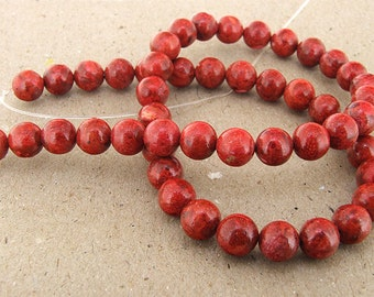 "Full Strand Round Red Spong Coral Beads----8mm ----about 49 beads--- gemstone beads--- 15 1/2"" in length"
