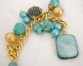Beaded Key Chain, Blue and Gold Key chain, The Perfect Office Gift, Stocking Stuffer
